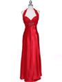 7173 Red Halter Evening Dress - Red, Front View Thumbnail
