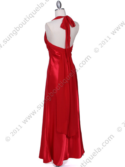 7173 Red Halter Evening Dress - Red, Back View Medium