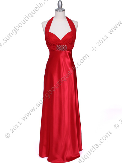 7173 Red Halter Evening Dress - Red, Front View Medium