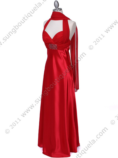 7173 Red Halter Evening Dress - Red, Alt View Medium