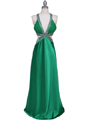 Green Satin Evening Dress - Front Image