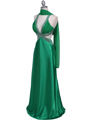 Green Satin Evening Dress - Alt Image