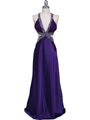 7179 Purple Satin Evening Dress - Purple, Front View Thumbnail