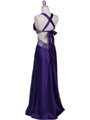 7179 Purple Satin Evening Dress - Purple, Back View Thumbnail