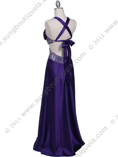7179 Purple Satin Evening Dress - Purple, Back View Medium
