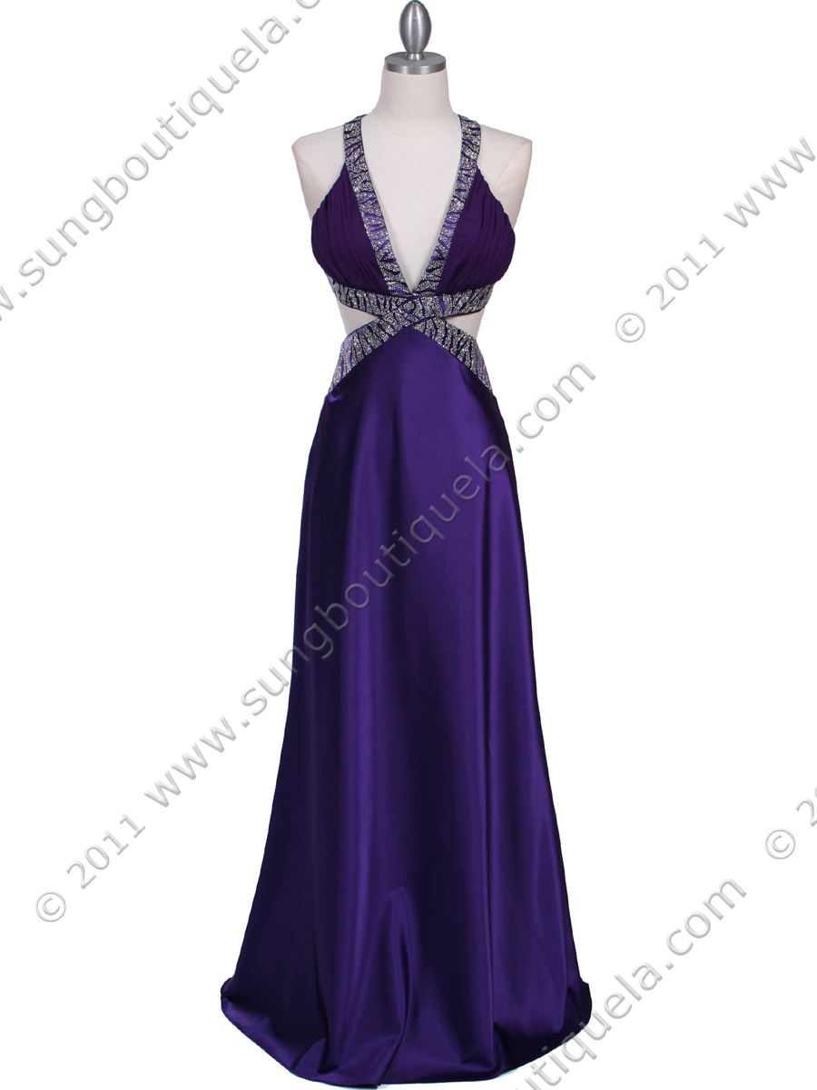 7179 Purple Satin Evening Dress - Front Image