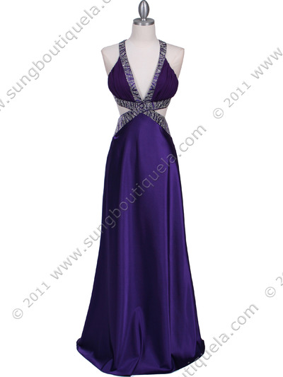 7179 Purple Satin Evening Dress - Purple, Front View Medium