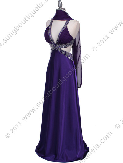 7179 Purple Satin Evening Dress - Purple, Alt View Medium