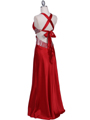 Red Satin Evening Dress - Back Image