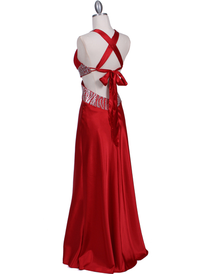 7179 Red Satin Evening Dress - Red, Back View Medium