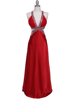 Red Satin Evening Dress - Front Image