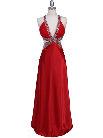7179 Red Satin Evening Dress - Red, Front View Medium