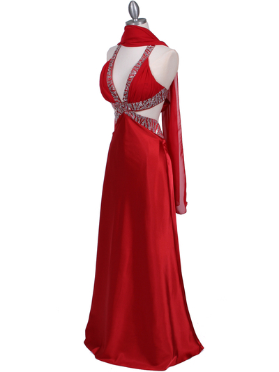 7179 Red Satin Evening Dress - Red, Alt View Medium