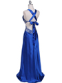 Royal Blue Satin Evening Dress - Back Image