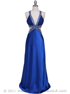 Royal Blue Satin Evening Dress - Front Image