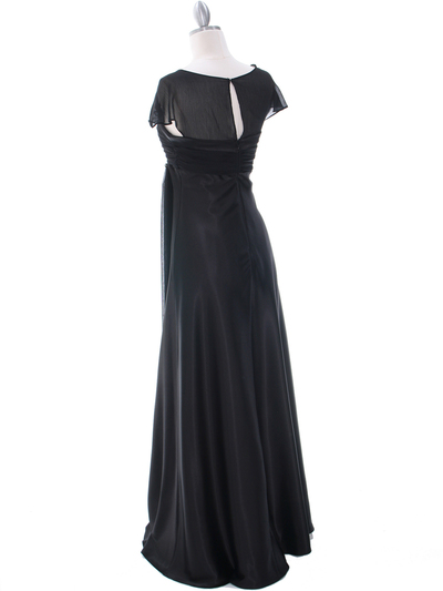 7302 Black Evening Dress - Black, Back View Medium