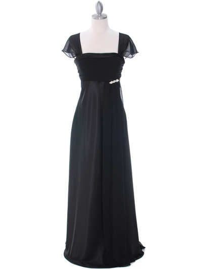 7302 Black Evening Dress - Black, Front View Medium