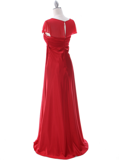 7302 Red Evening Dress - Red, Back View Medium