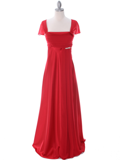 7302 Red Evening Dress - Red, Front View Medium