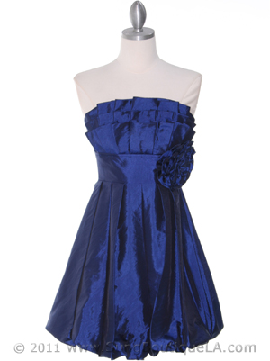 Blue Taffeta Strapless Cocktail Dress - Front Image