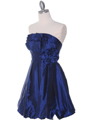 Blue Taffeta Strapless Cocktail Dress - Alt Image