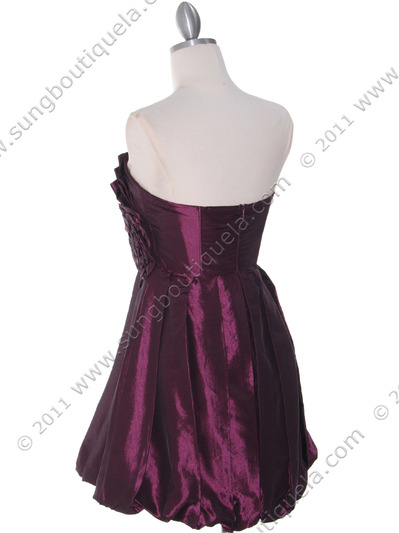 74082 Purple Taffeta Strapless Cocktail Dress - Purple, Back View Medium
