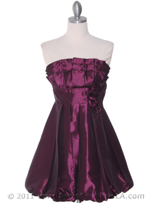 Purple Taffeta Strapless Cocktail Dress - Front Image