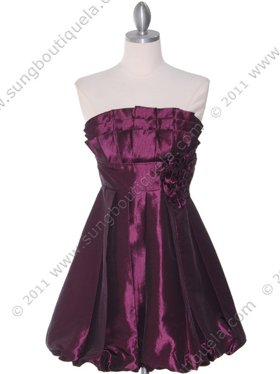 74082 Purple Taffeta Strapless Cocktail Dress - Purple, Front View Medium