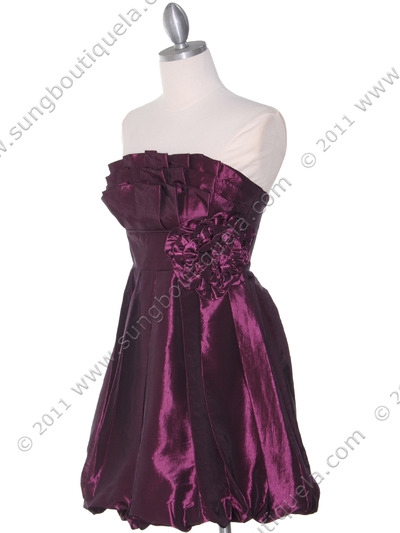 74082 Purple Taffeta Strapless Cocktail Dress - Purple, Alt View Medium
