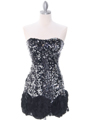 74177  Black Silver Sequin Party Dress - Front Image