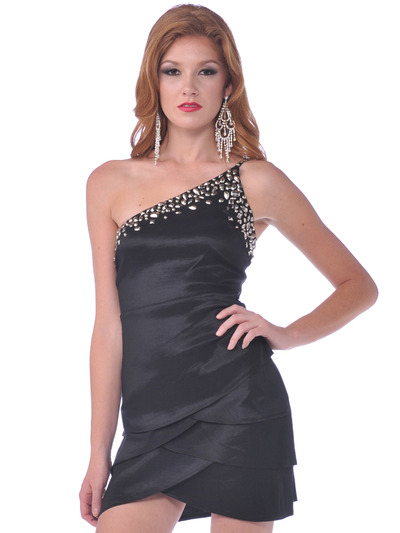74893 One Shoulder Party Dress - Black, Front View Medium