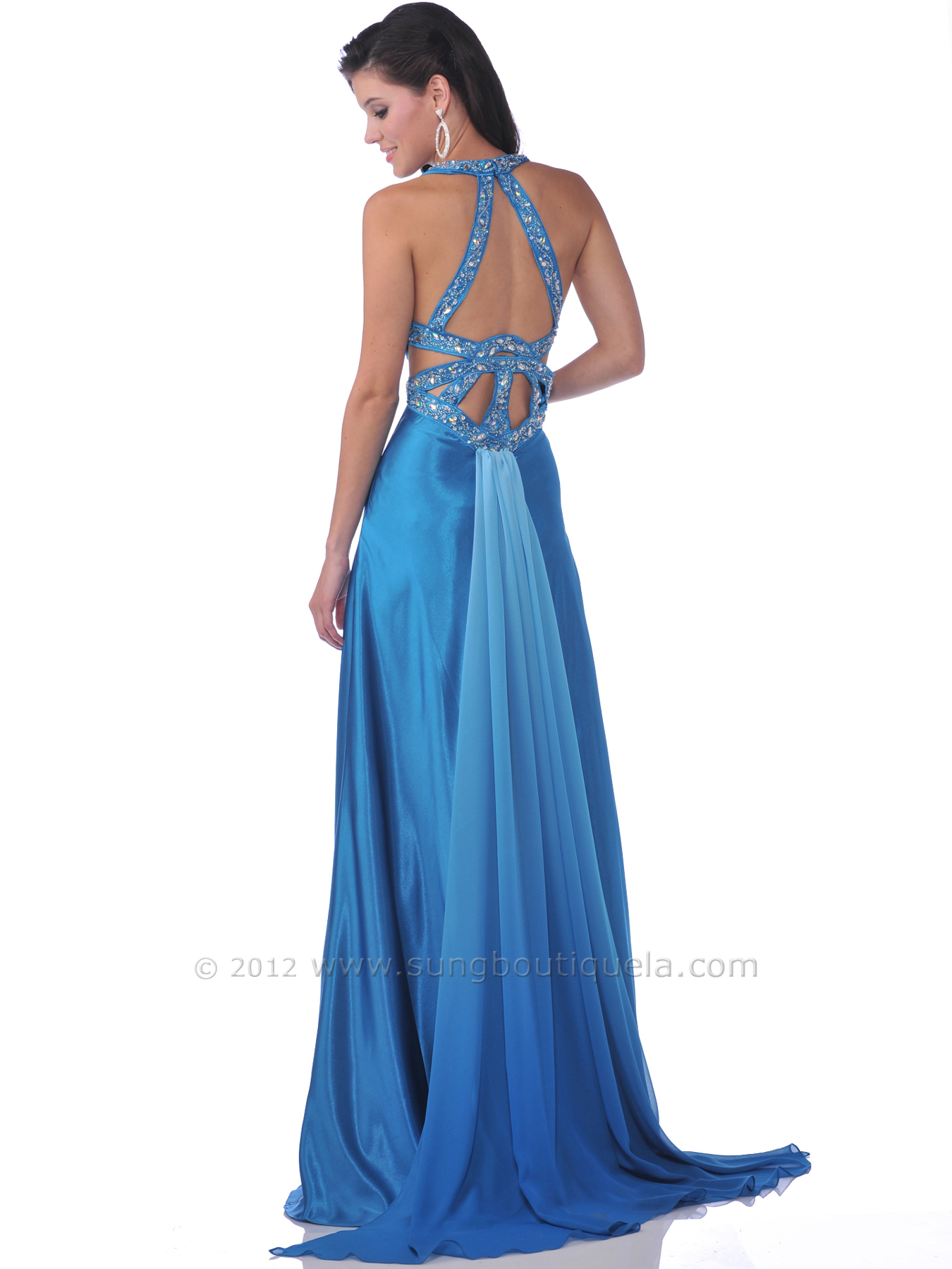 Teal Halter Cut Out Prom Dress with Slit | Sung Boutique L.A.