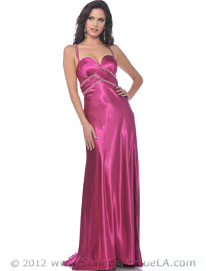 7505 Charmeuse Evening Dress with Crisscross Back, Raspberry