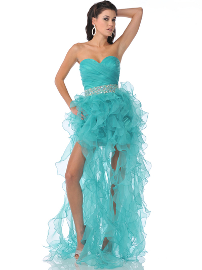 7509 Strapless Sweetheart Organza Ruffle Prom Dress - Jade, Front View Medium