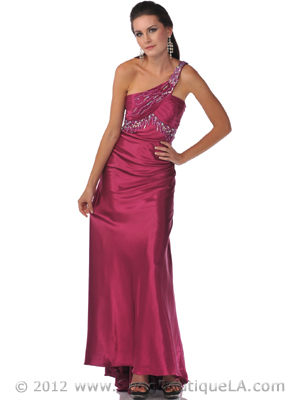 7511 Raspberry One Shoulder Evening Dress, Raspberry