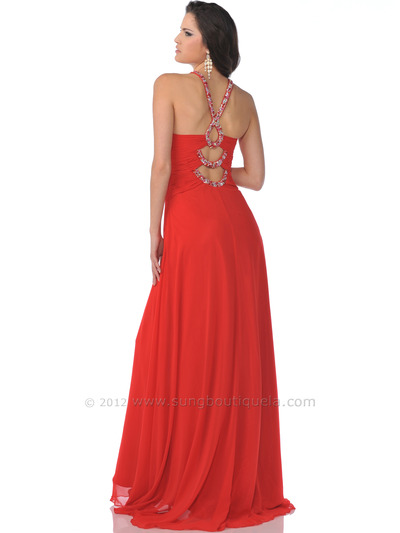 7512 Keyhole with Beaded Halter Strap Red Prom Dress - Red, Back View Medium
