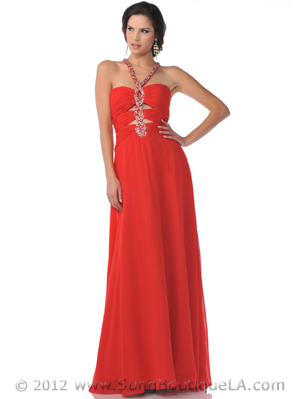 7512 Keyhole with Beaded Halter Strap Red Prom Dress, Red