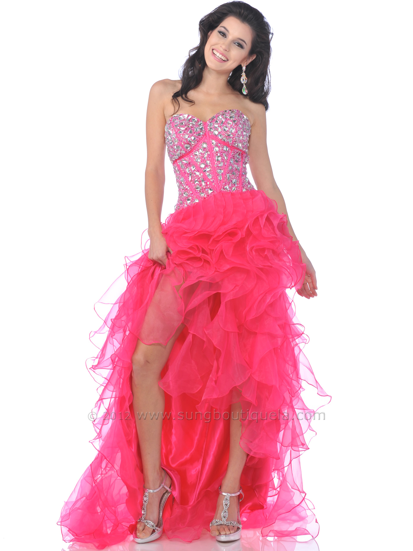 Jeweled Corset Top Ruffle High Low Prom Dress | Sung Boutique L.A.