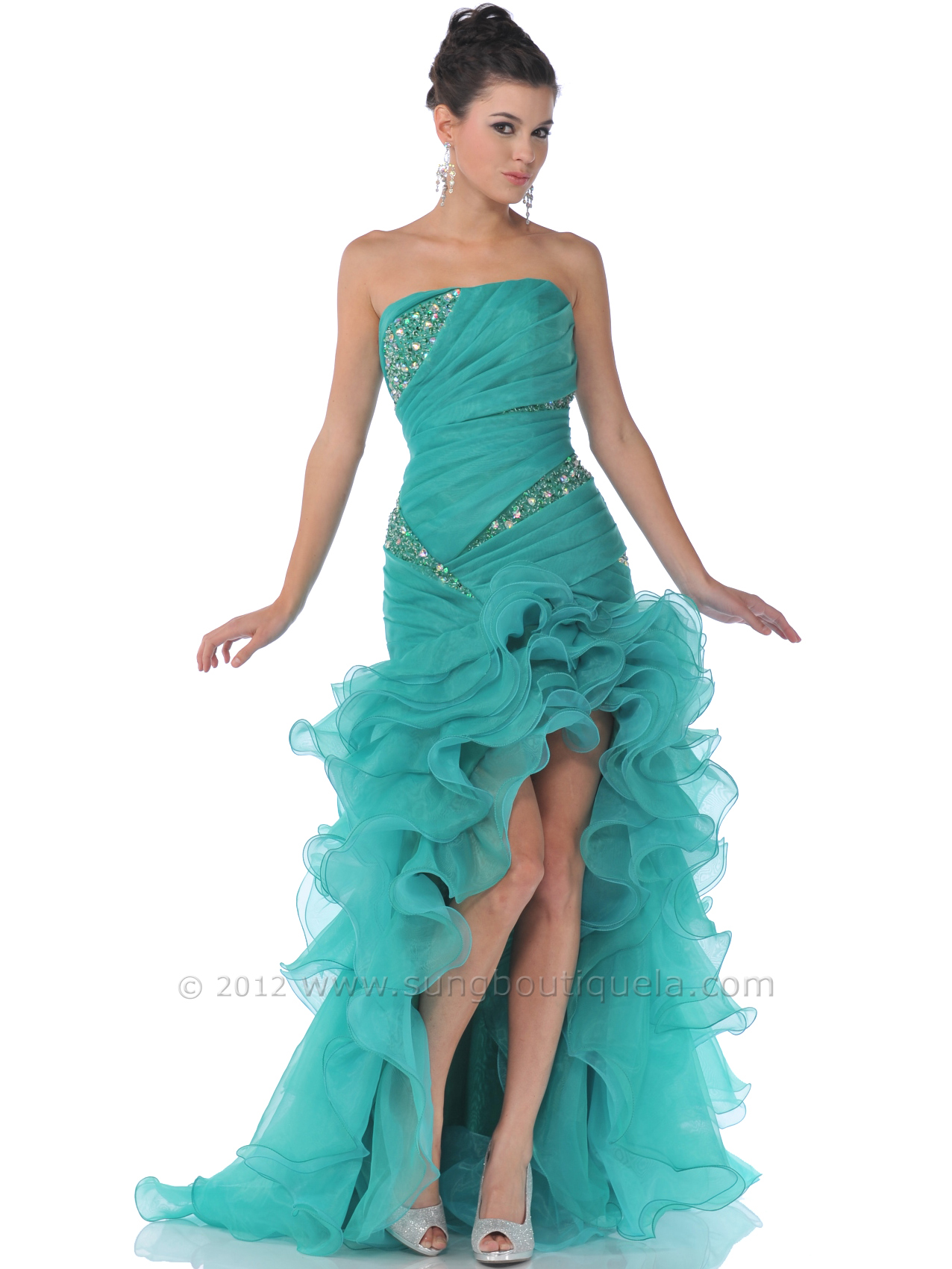 Strapless Beaded Ruffle High Low Organza Prom Dress | Sung ...