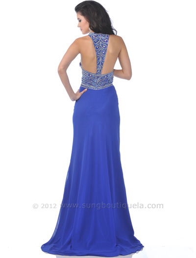 7518 Royal Blue Halter Evening Dress with Bead Embellished - Royal Blue, Back View Medium