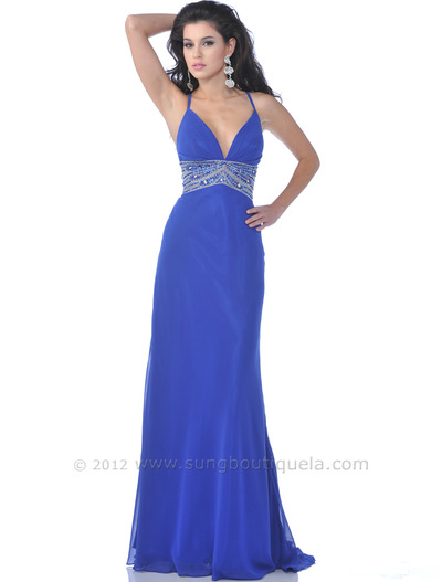 7518 Royal Blue Halter Evening Dress with Bead Embellished - Royal Blue, Front View Medium