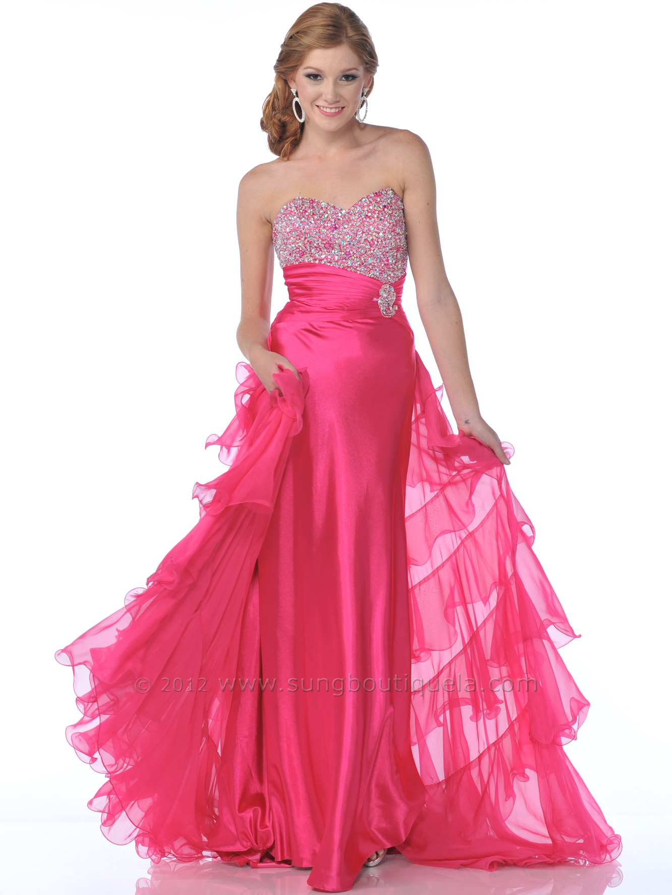 Hot pink sequin embellished prom dress with train sung for Pink homecoming dresses