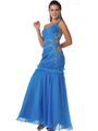 Blue One Shoulder Side Cut Out Prom Dress - Front Image