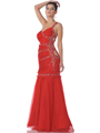 Red One Shoulder Side Cut Out Prom Dress