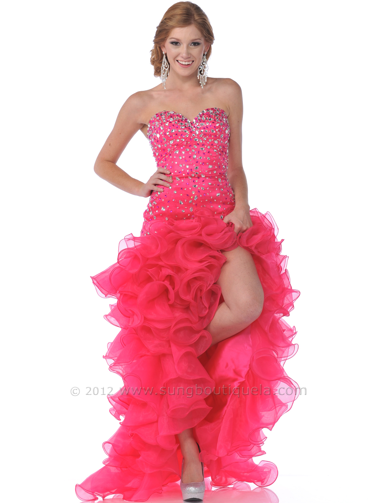 Strapless Sweetheart High Low Prom Dress | Sung Boutique L.A.