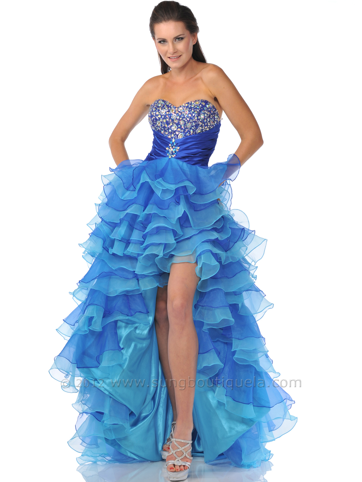 Royal Blue Strapless Sweetheart Cut High Low Prom Dress | Sung ...