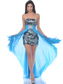 Sequin Cocktail Dress with Removable Chiffon Train