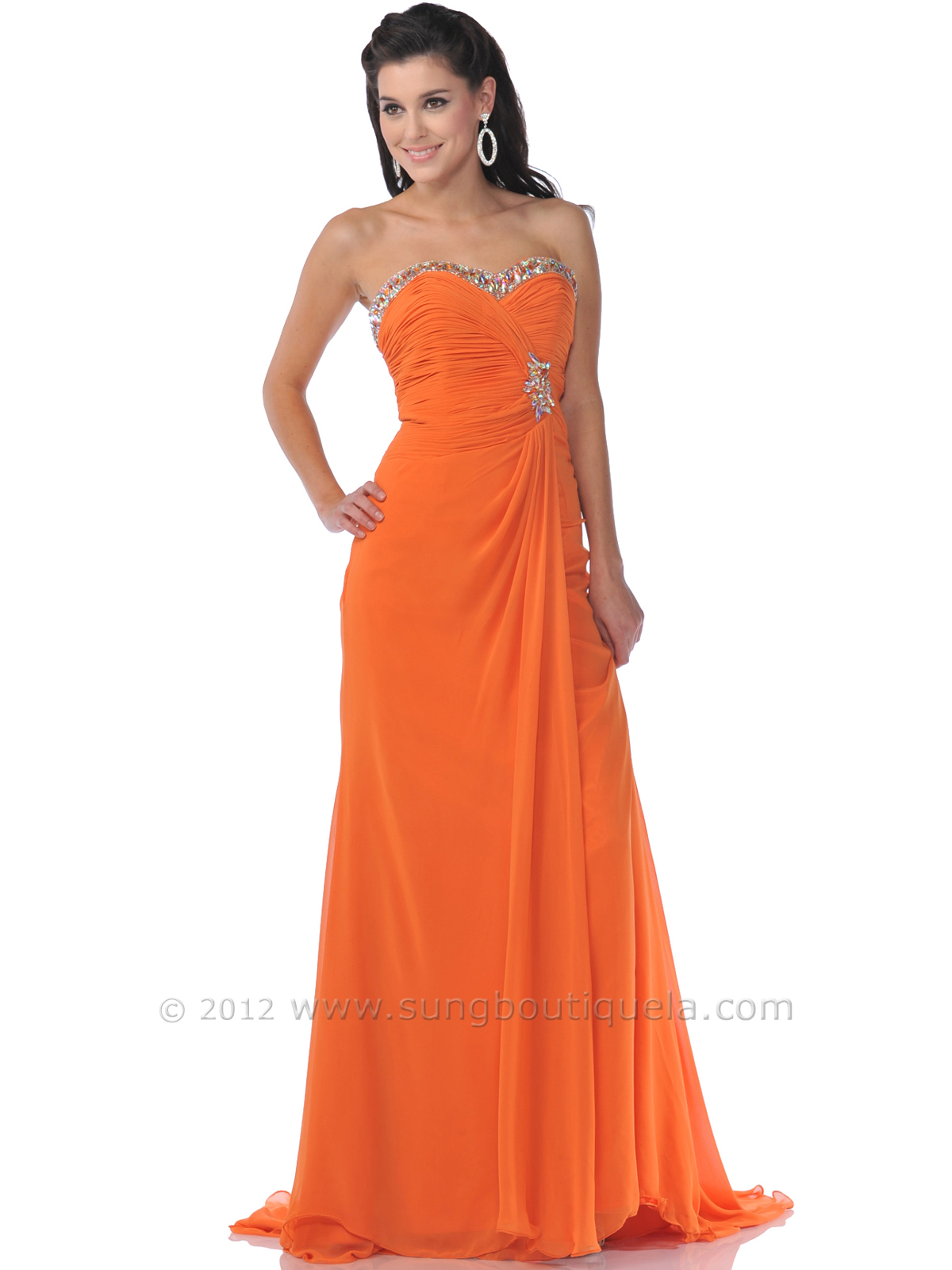 Orange Strapless Prom Dress with Sparkling Sweetheart Neckline ...