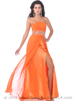 7544 One Shoulder Chiffon Prom Dress, Orange