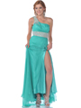 Jade Sparkling Jeweled One Shoulder Evening Dress - Front Image